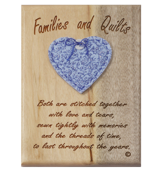Families & Quilts Desk or Wall Plaque 5 x 7""