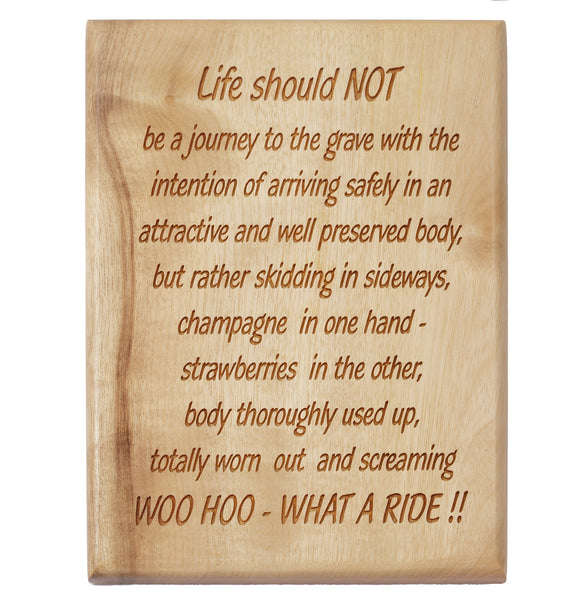 Life is Just a Ride Desk or Wall Plaque 5 x 7""