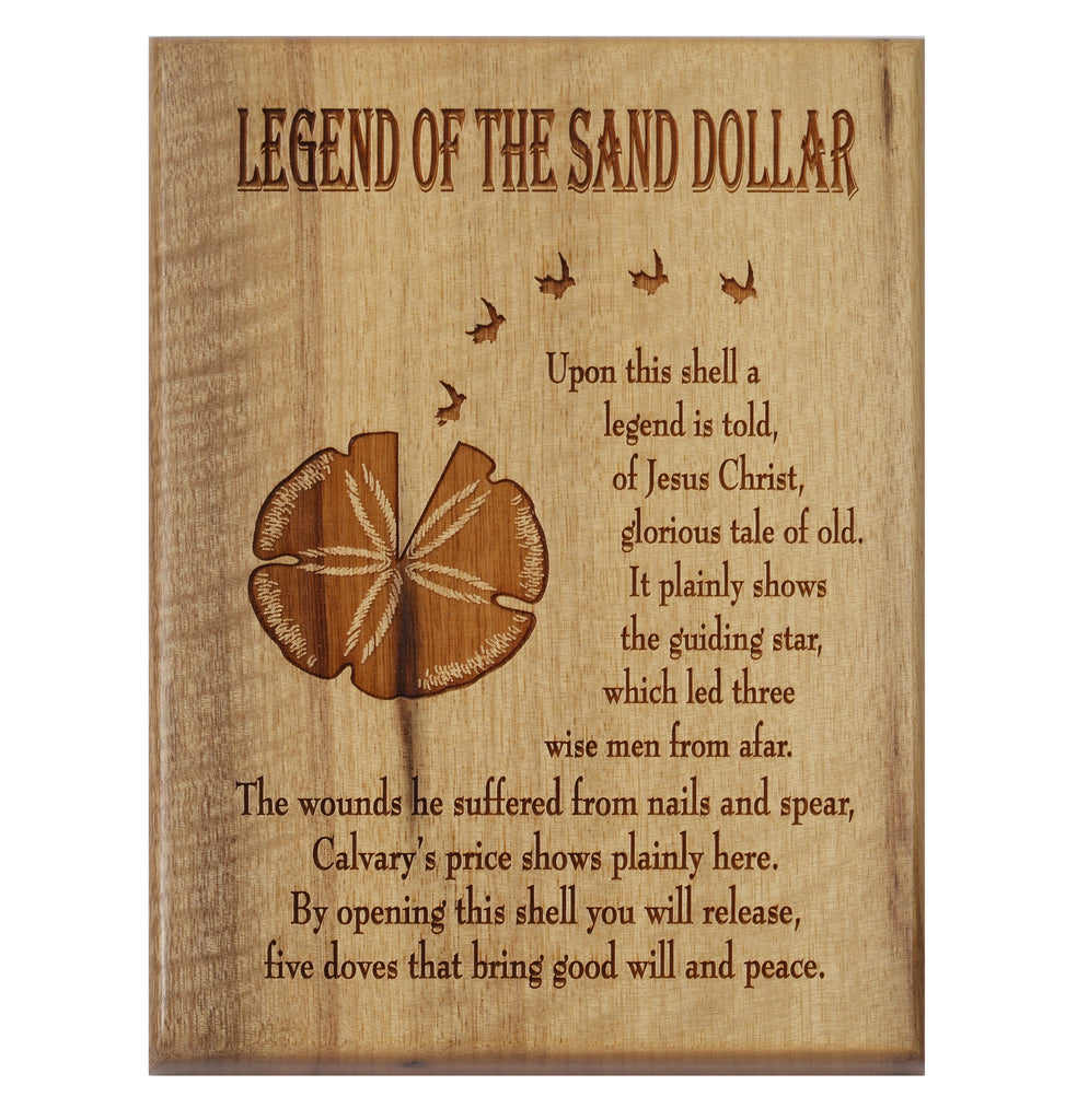 Legend of the Sand Dollar Desk or Wall Plaque 5 x 7""