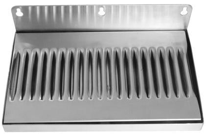 "14"" by 6"" Stainless Steel Wall Mount Drip Tray No Drain - Barley & Vine"