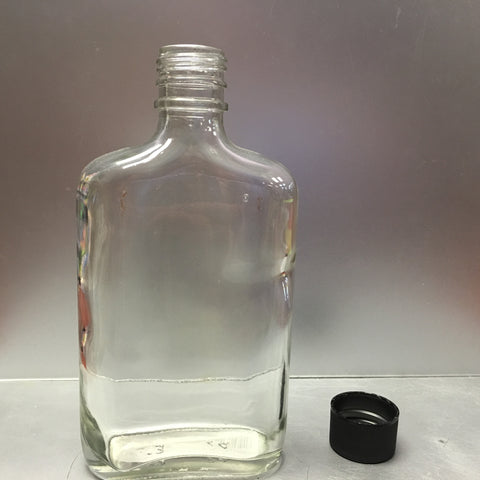 250ml Glass Flask Liquor Bottle, Each with Cap - Barley & Vine