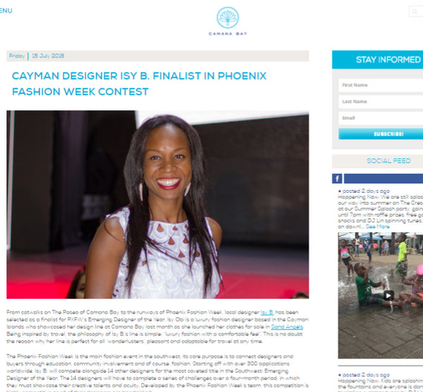 Camana Bay Times - Cayman Designer Isy B. Finalist in Phoenix Fashion Week Contest
