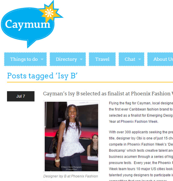 CayMum - Cayman's Isy B Selected as Finalist at Phoenix Fashion Week