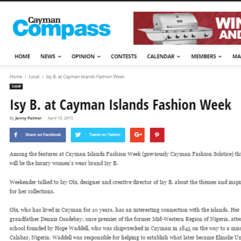 Cayman Compass- Isy B at Cayman Islands Fashion Week