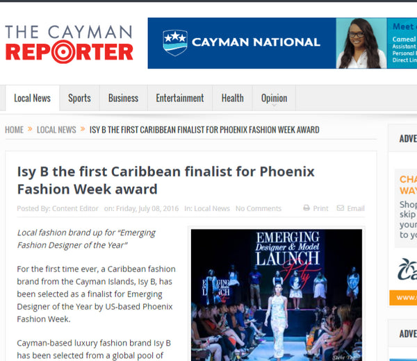 The Cayman Reporter - Isy B, The First Caribbean Finalist for Phoenix Fashion Week Award