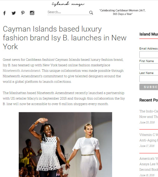 Island Muse - Cayman Islands Based Luxury Fashion Brand Isy B Launches in New York