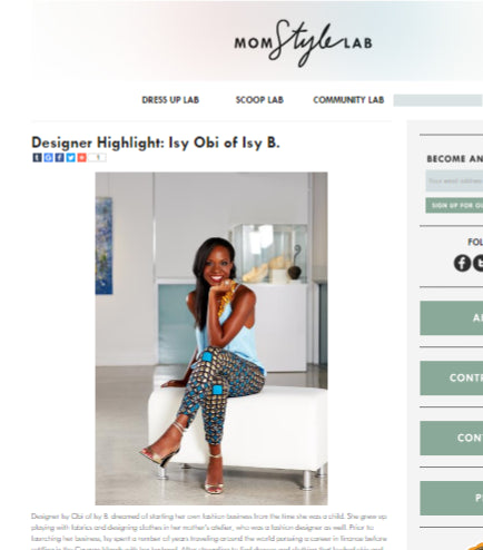 Mom Style Lab - Designer Highlight: Isy Obi of Isy B.