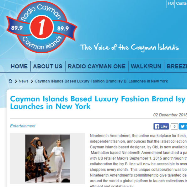 Radio Cayman - Cayman Islands Based Luxury Brand Isy B Launches in New York