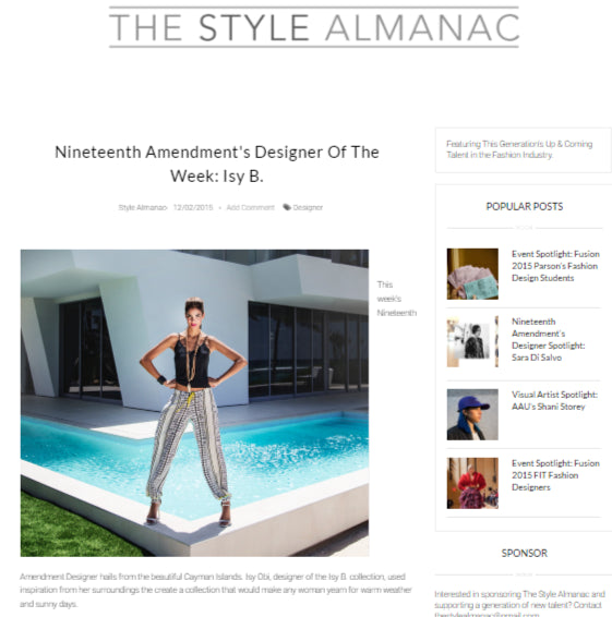 The Style Almanac - Nineteenth Amendment's Designer Of The Week: Isy B.