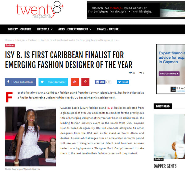 Twenty8 + - First Caribbean Finalist for Emerging Fashion Designer of The Year