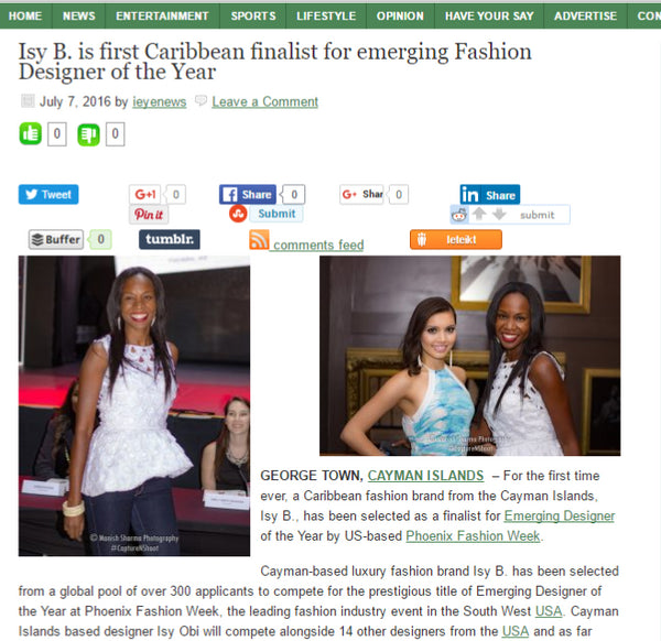 iEye News -Isy B. is First Caribbean Finalist for Emerging Fashion Designer of the Year