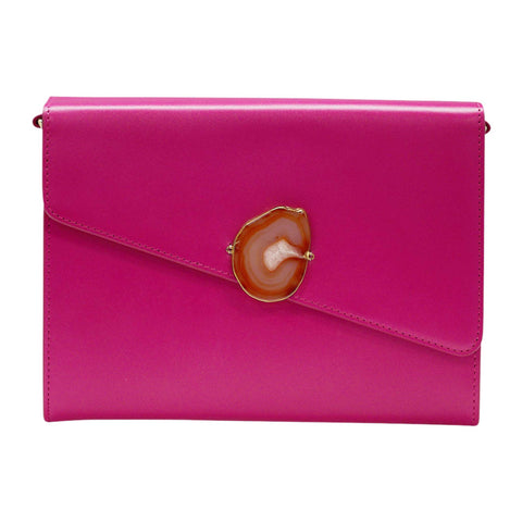 LOVED BAG - PINK RUBY LEATHER WITH BROWN AGATE - 1.001.001.036