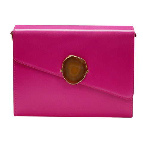 LOVED BAG - PINK RUBY LEATHER WITH BROWN AGATE - 1.01.001.010