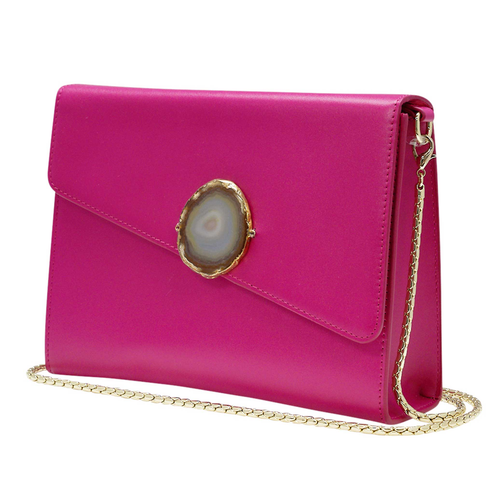 LOVED BAG - PINK RUBY LEATHER WITH BROWN AGATE - 1.01.001.014