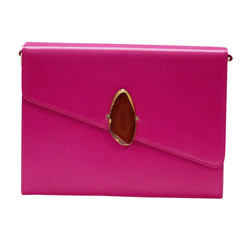 LOVED BAG - PINK RUBY LEATHER WITH BROWN AGATE - 1.01.001.019