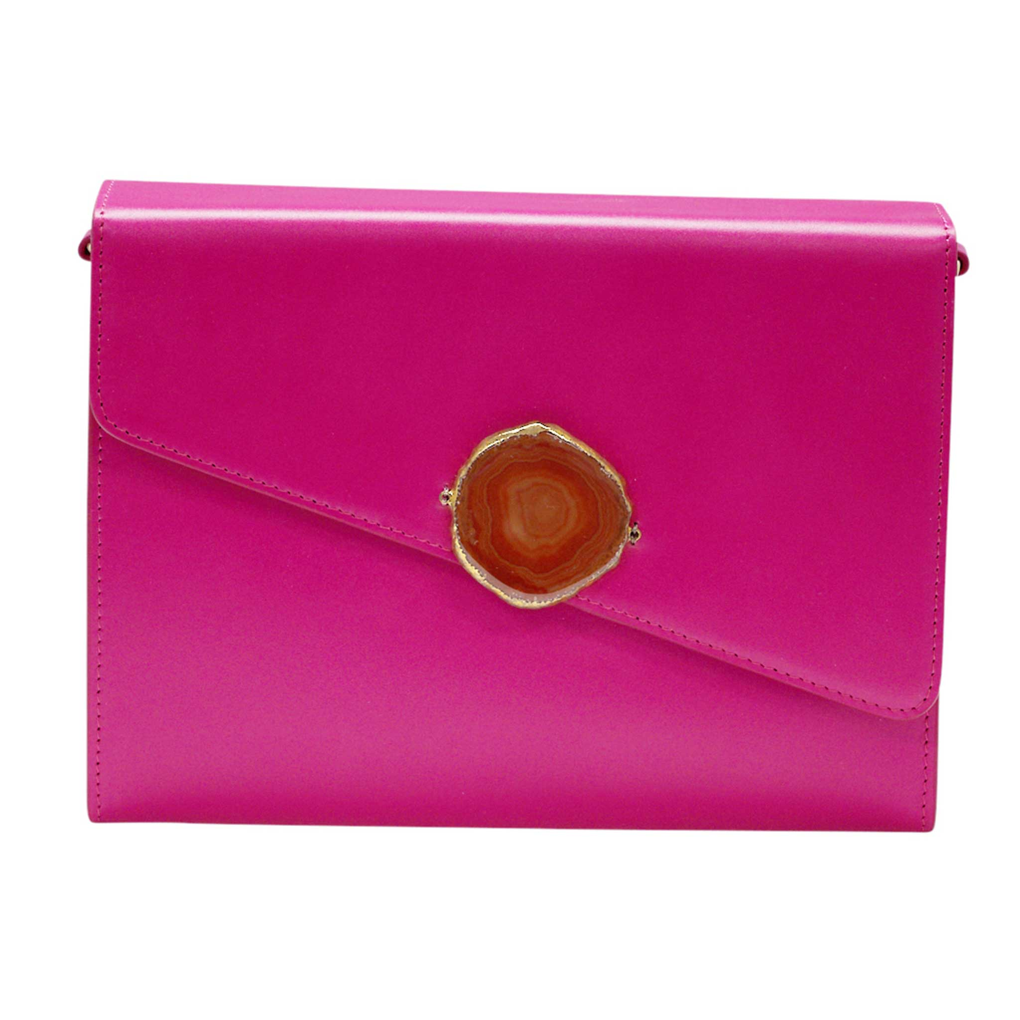 LOVED BAG - PINK RUBY LEATHER WITH BROWN AGATE - 1.01.001.029