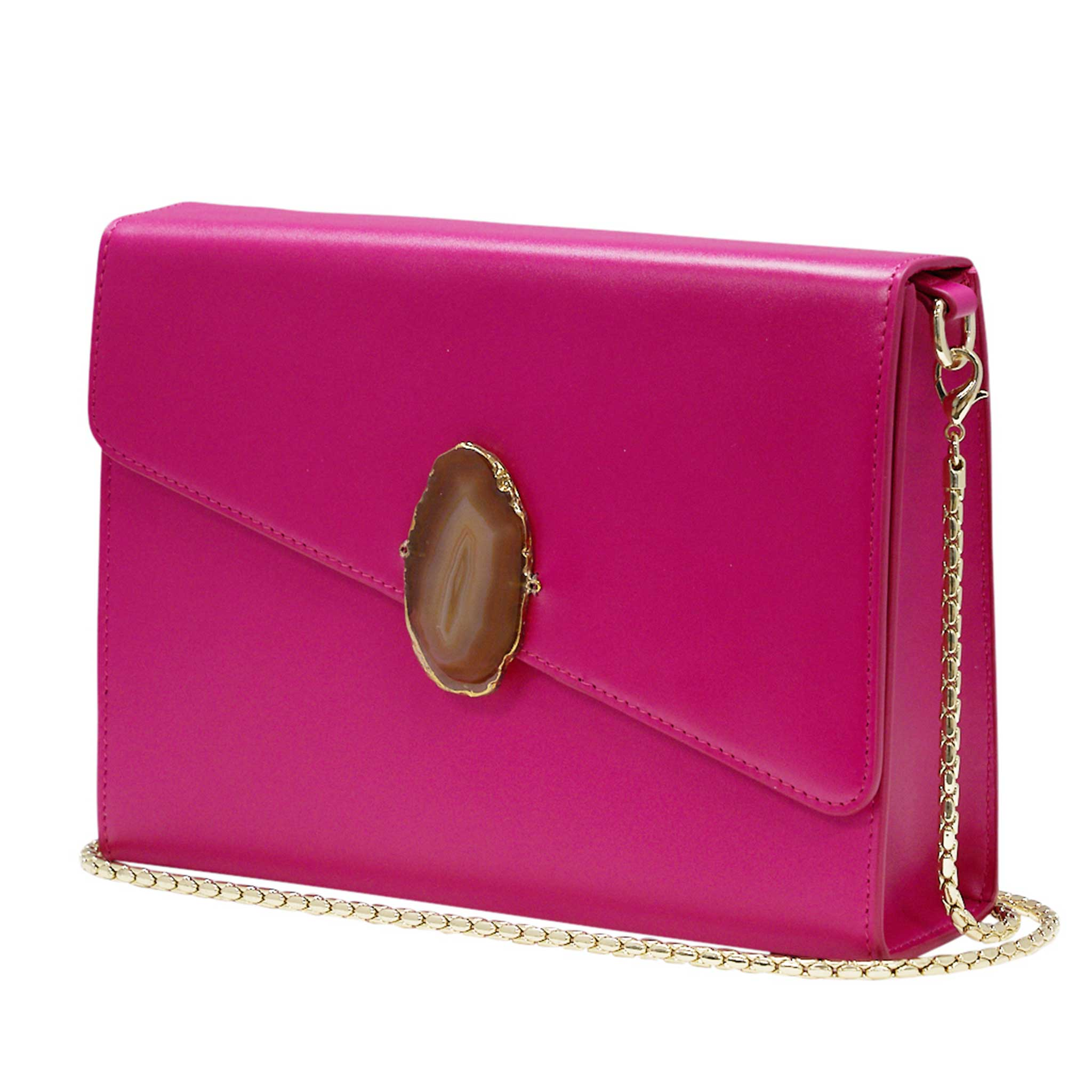 LOVED BAG - PINK RUBY LEATHER WITH BROWN AGATE - 1.01.001.030