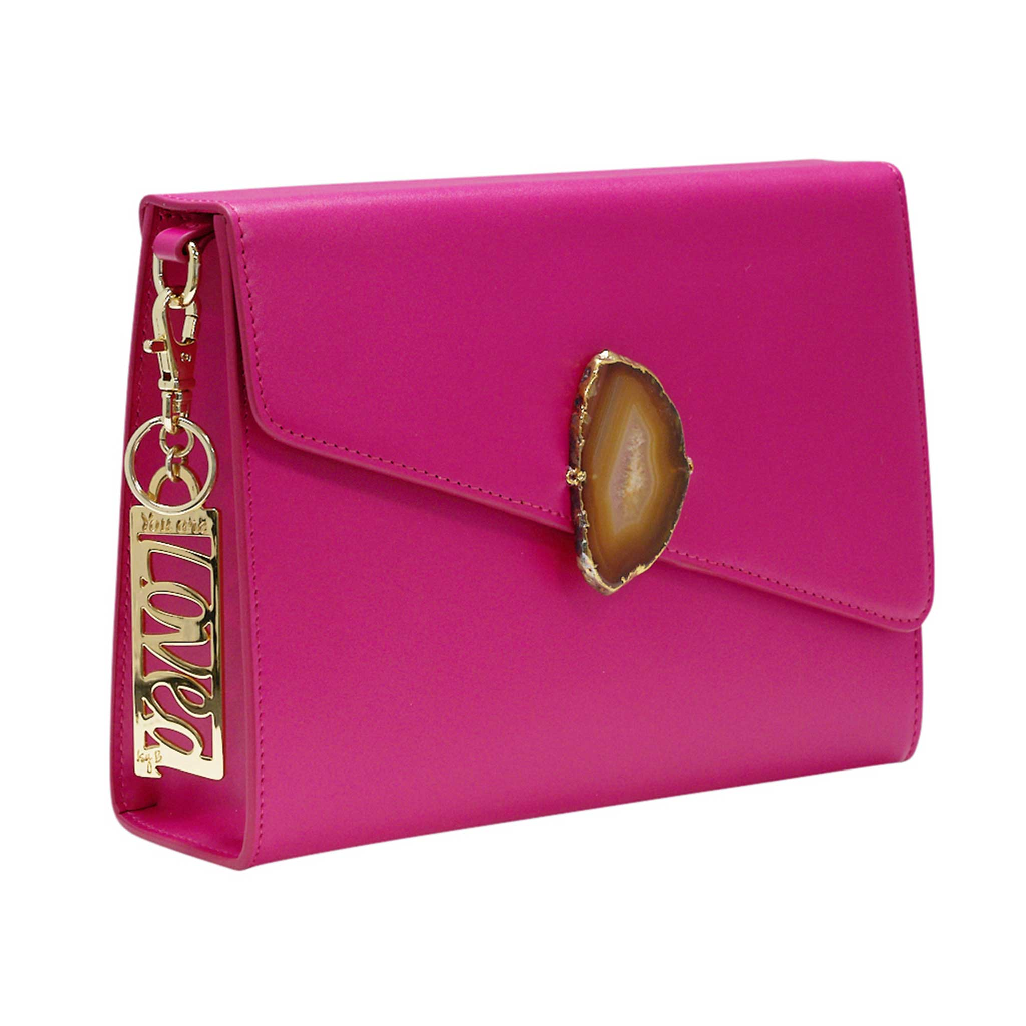 LOVED BAG - PINK RUBY LEATHER WITH BROWN AGATE - 1.01.001.033