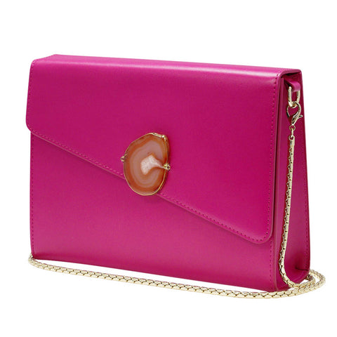 LOVED BAG - PINK RUBY LEATHER WITH BROWN AGATE - 1.01.001.036