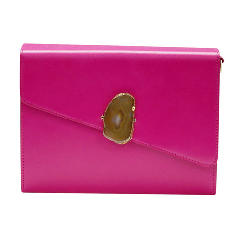 LOVED BAG - PINK RUBY LEATHER WITH BROWN AGATE - 1.01.001.056