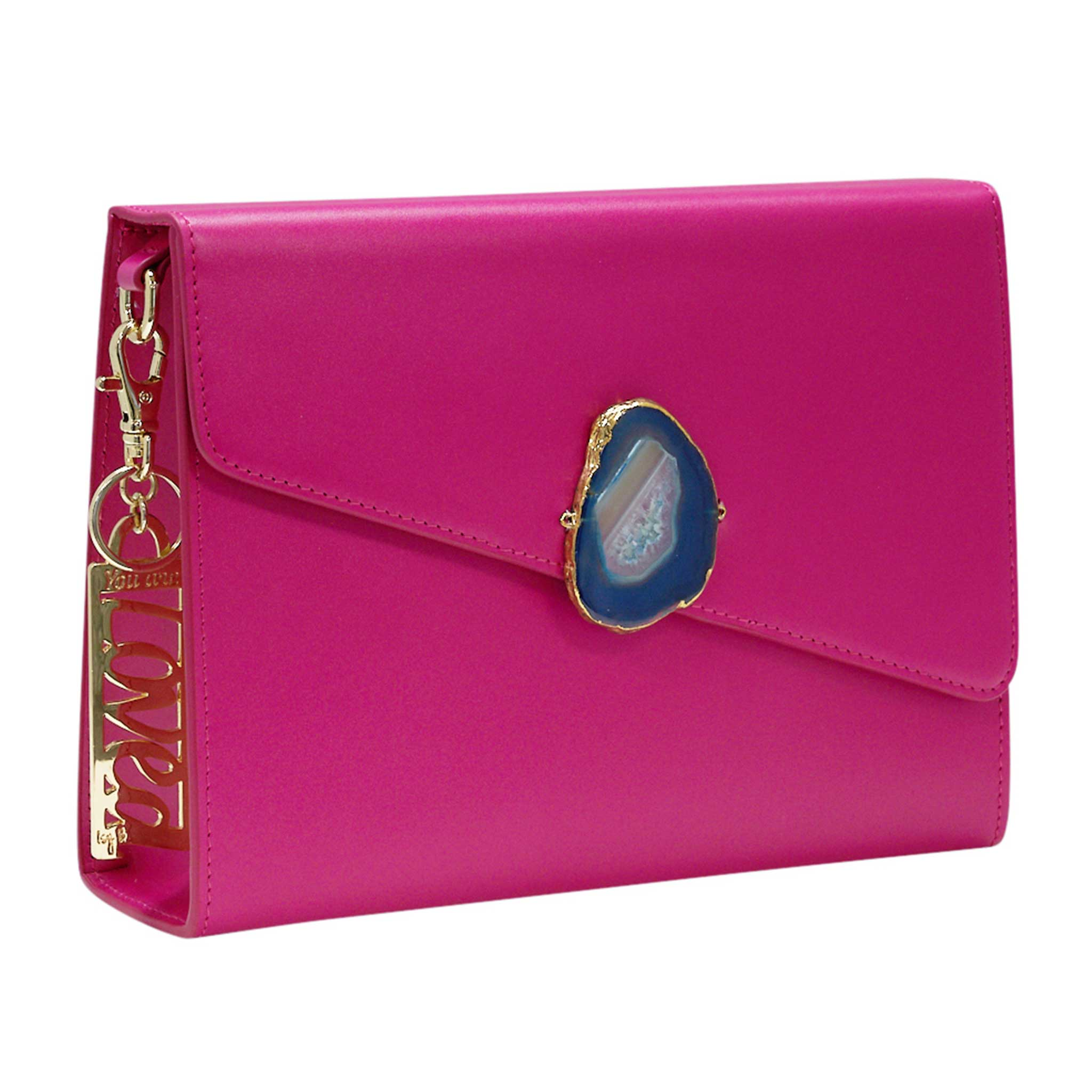 LOVED BAG - PINK RUBY LEATHER WITH BLUE AGATE - 1.01.002.018