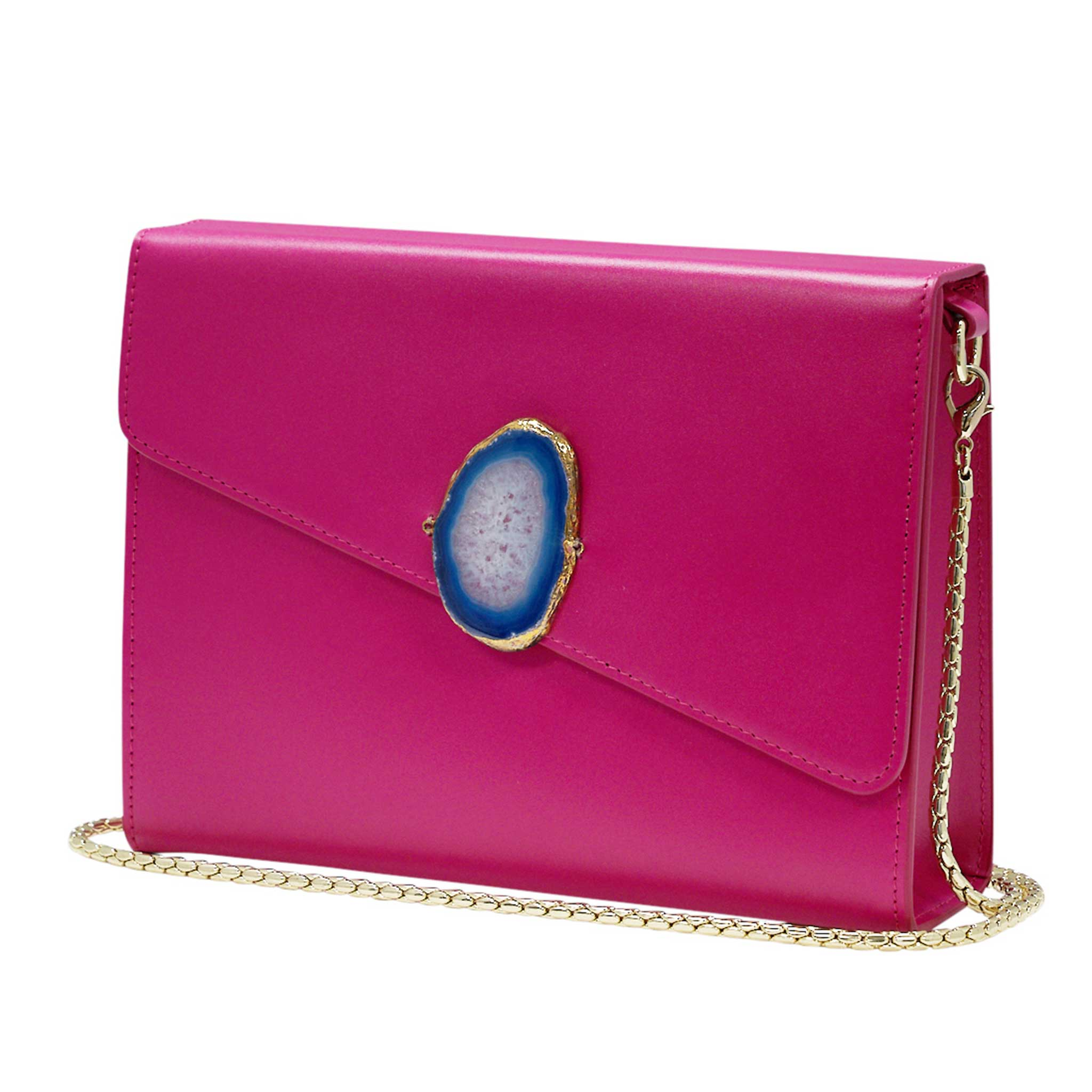 LOVED BAG - PINK RUBY LEATHER WITH BLUE AGATE - 1.01.002.038