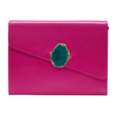 LOVED BAG - PINK RUBY LEATHER WITH BLUE AGATE - 1.01.003.042