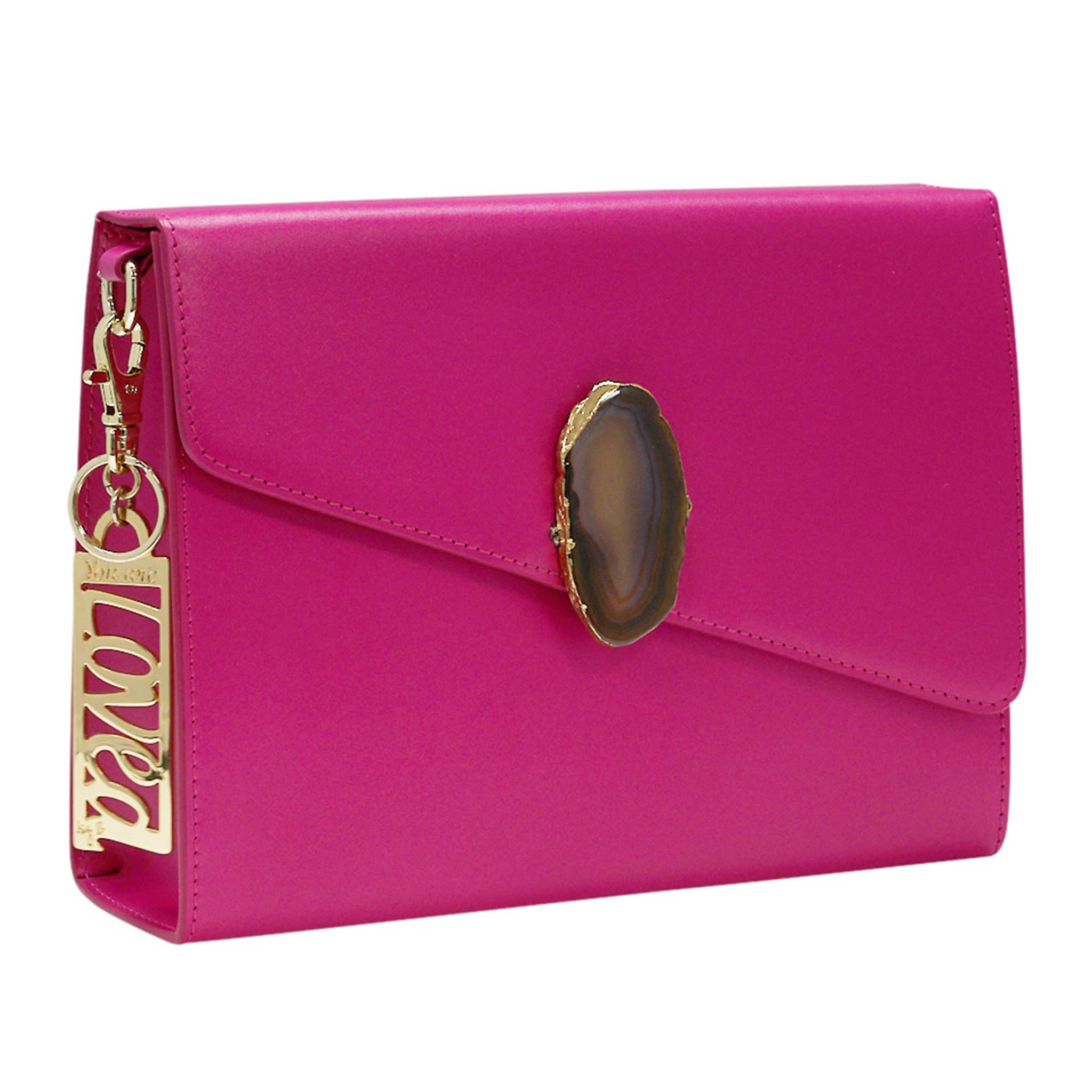 LOVED BAG - PINK RUBY LEATHER WITH BROWN AGATE - 1.01.004.017
