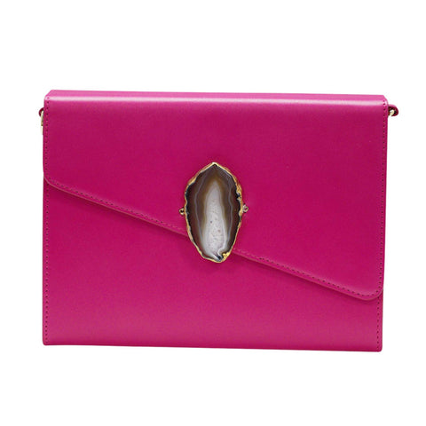 LOVED BAG - PINK RUBY LEATHER WITH BROWN AGATE - 1.01.004.022