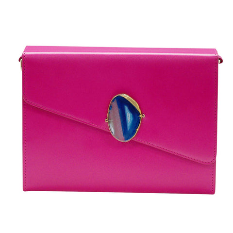 LOVED BAG - PINK RUBY LEATHER WITH BLUE AGATE - 1.01.004.023