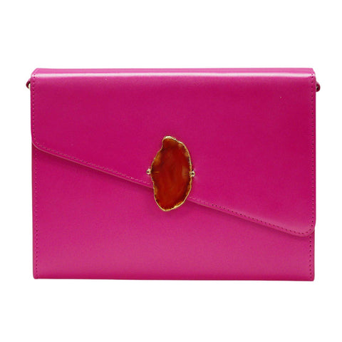 LOVED BAG - PINK RUBY LEATHER WITH BROWN AGATE - 1.01.004.031