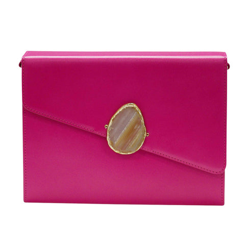 LOVED BAG - PINK RUBY LEATHER WITH BROWN AGATE - 1.01.004.035