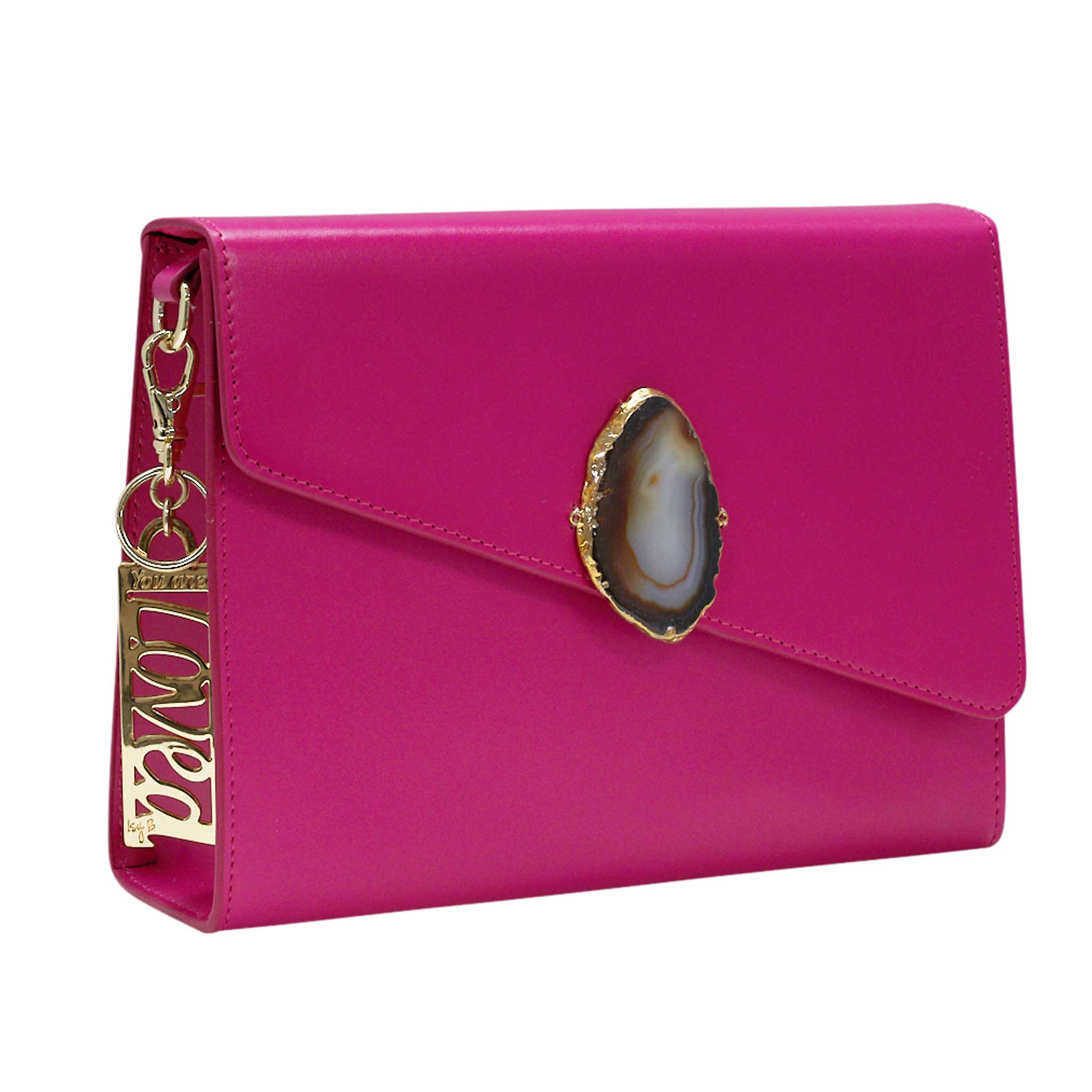 LOVED BAG - PINK RUBY LEATHER WITH BROWN AGATE - 1.01.004.048