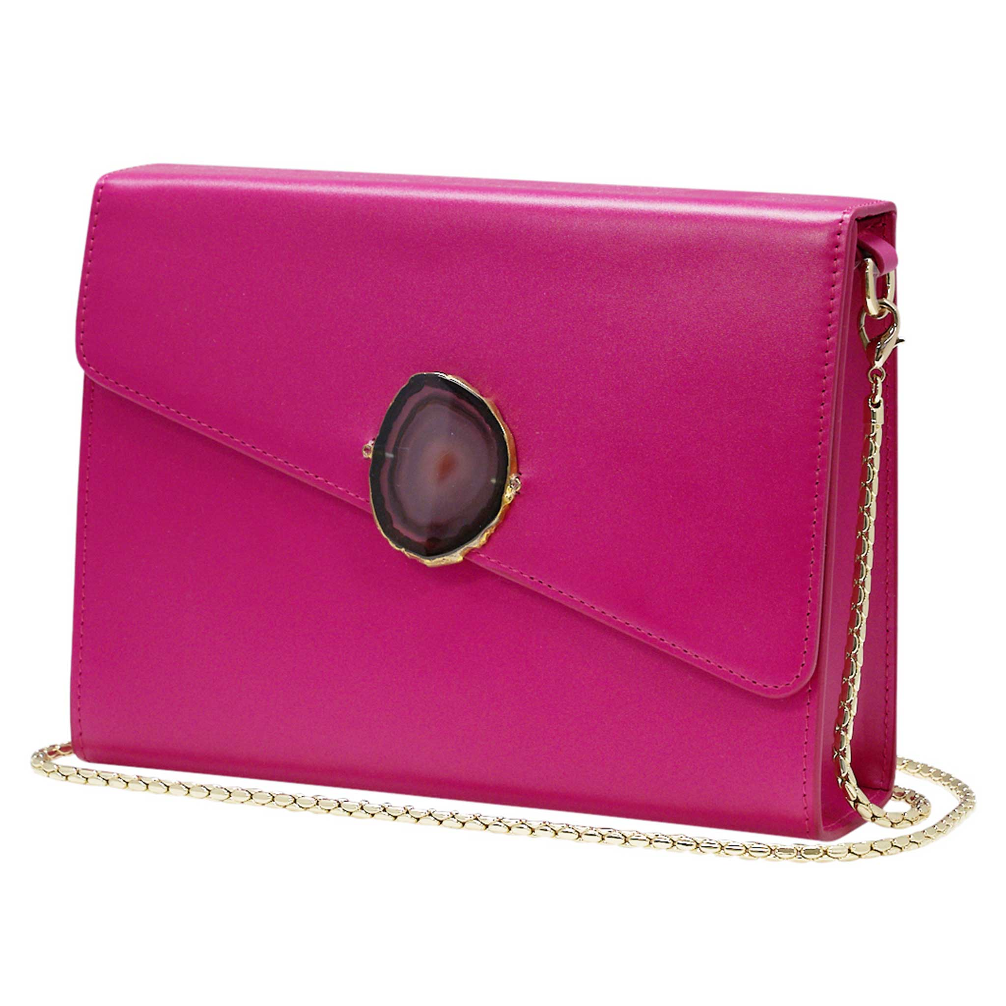 LOVED BAG - PINK RUBY LEATHER WITH BROWN AGATE - 1.01.004.052