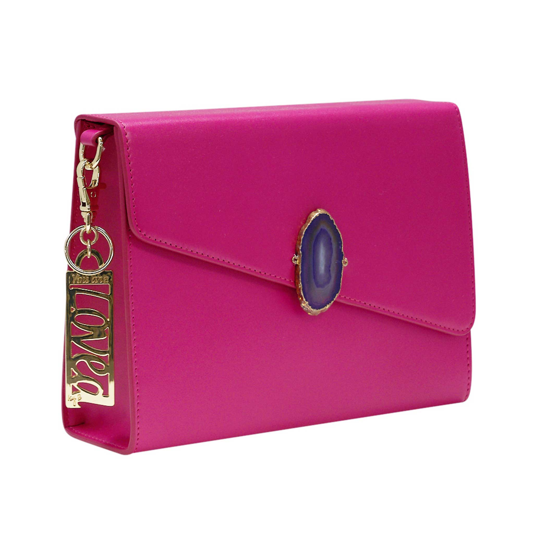 LOVED BAG - PINK RUBY LEATHER WITH PURPLE AGATE - 1.01.006.001