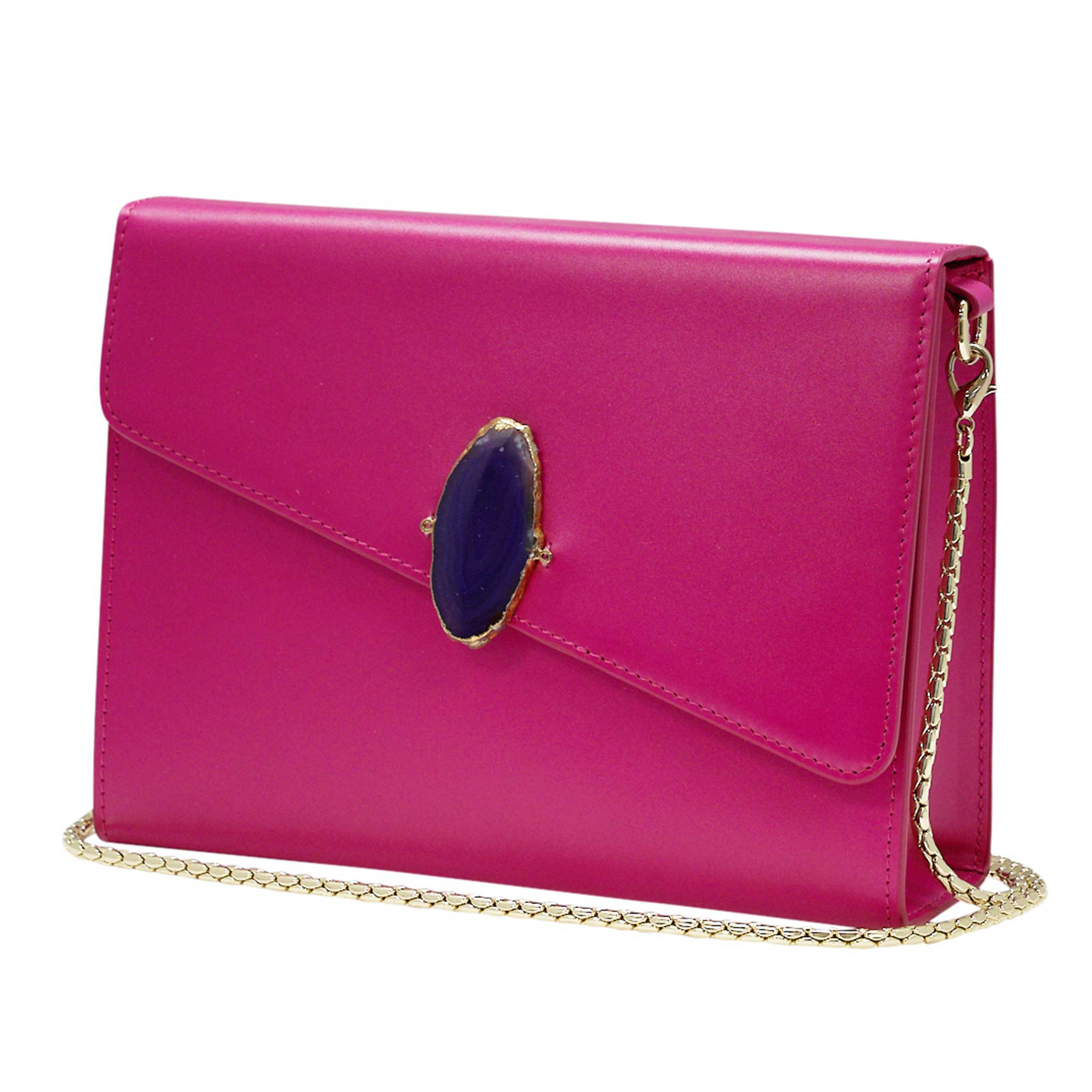 LOVED BAG - PINK RUBY LEATHER WITH PURPLE AGATE - 1.01.006.002