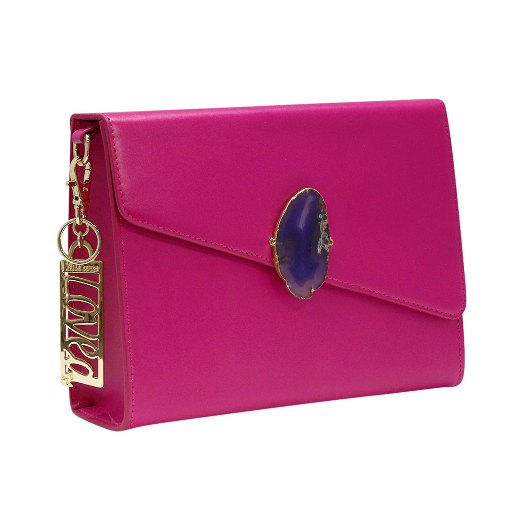LOVED BAG - PINK RUBY LEATHER WITH PURPLE AGATE - 1.01.006.005