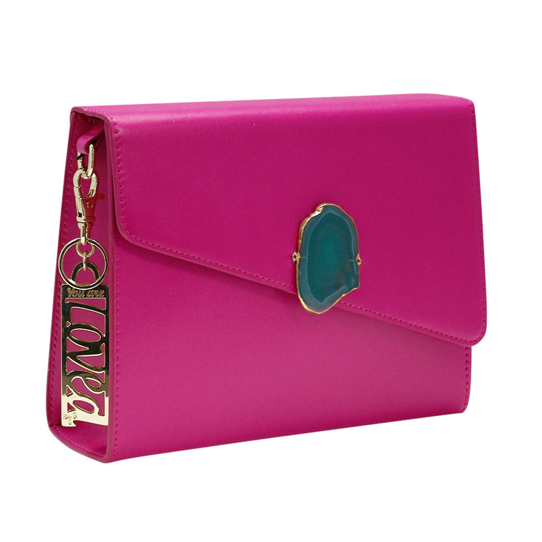 LOVED BAG - PINK RUBY LEATHER WITH PURPLE AGATE - 1.01.006.009