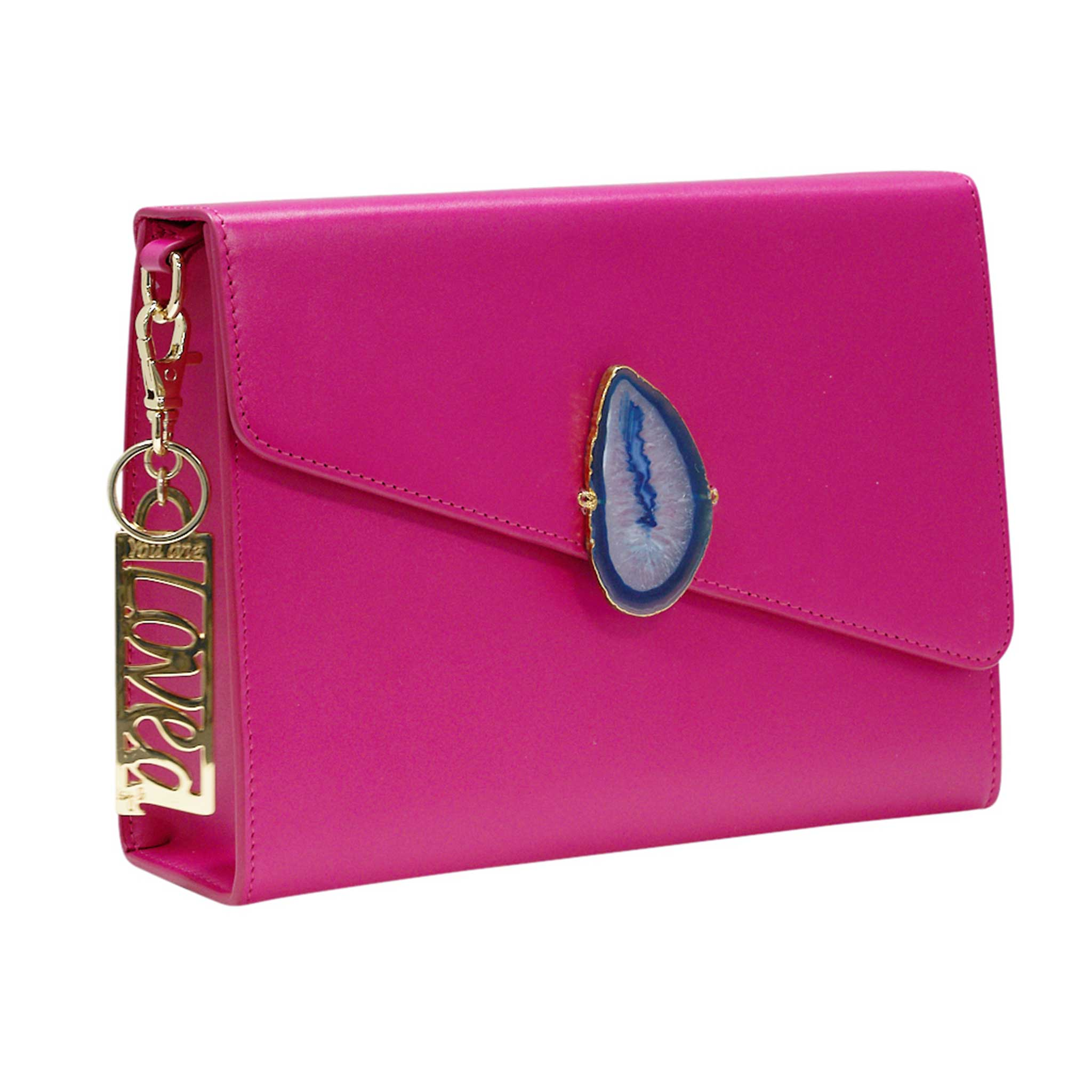 LOVED BAG - PINK RUBY LEATHER WITH BLUE AGATE - 1.01.002.026