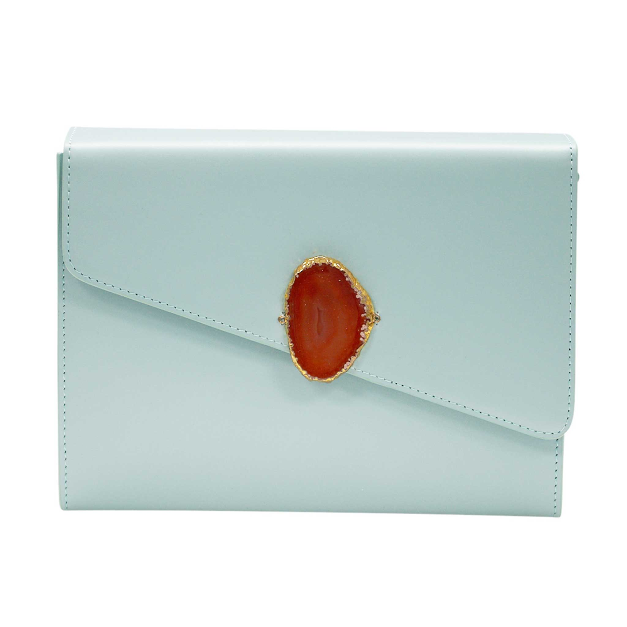 LOVED BAG - MOONSTONE WHITE LEATHER WITH BROWN AGATE - 1.02.001.004