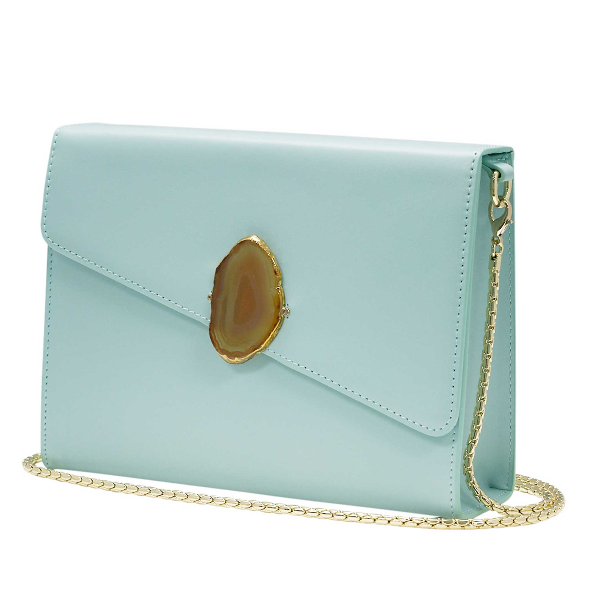 LOVED BAG - MOONSTONE WHITE LEATHER WITH YELLOW AGATE - 1.02.001.005