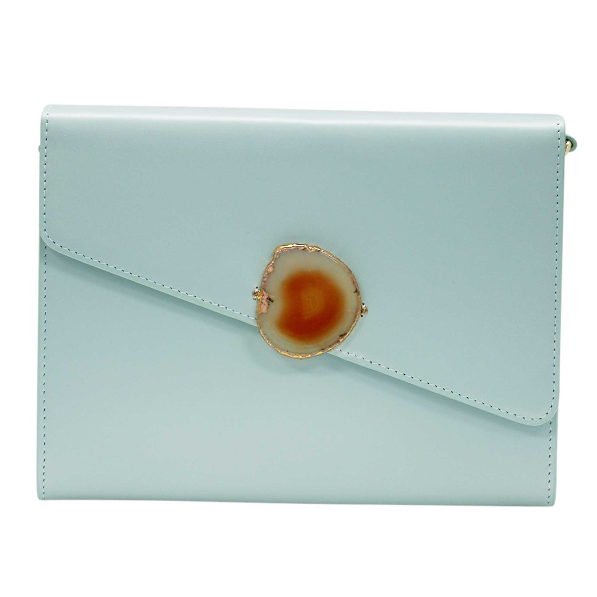 LOVED BAG - MOONSTONE WHITE LEATHER WITH BROWN AGATE - 1.02.001.008