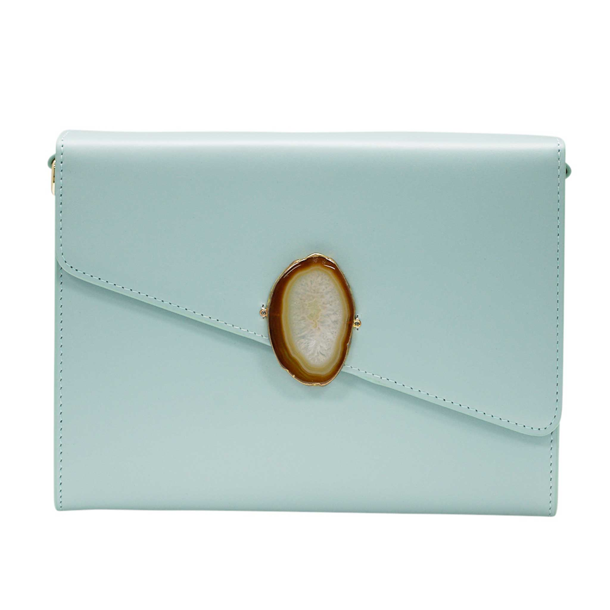 LOVED BAG - MOONSTONE WHITE LEATHER WITH BROWN AGATE - 1.02.001.018