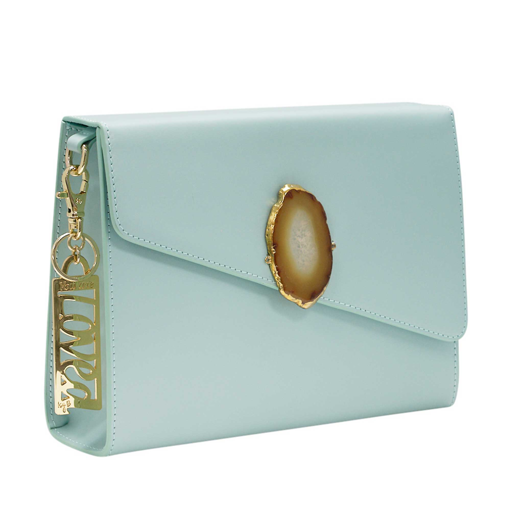LOVED BAG - MOONSTONE WHITE LEATHER WITH YELLOW AGATE - 1.02.001.039