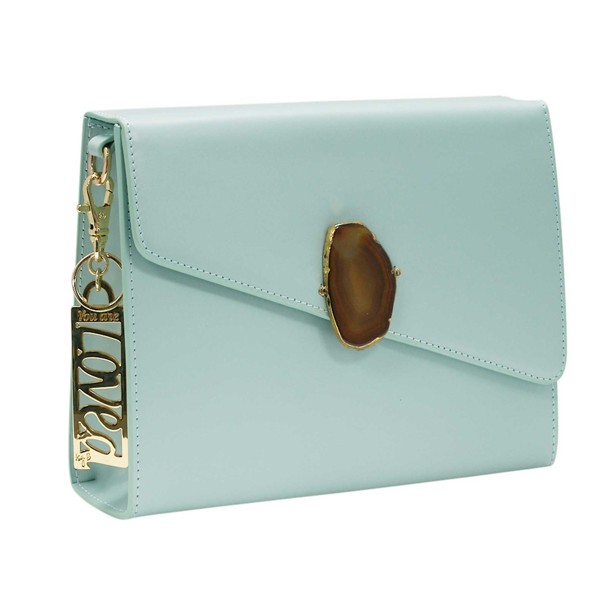 LOVED BAG - MOONSTONE WHITE LEATHER WITH BROWN AGATE - 1.02.001.040