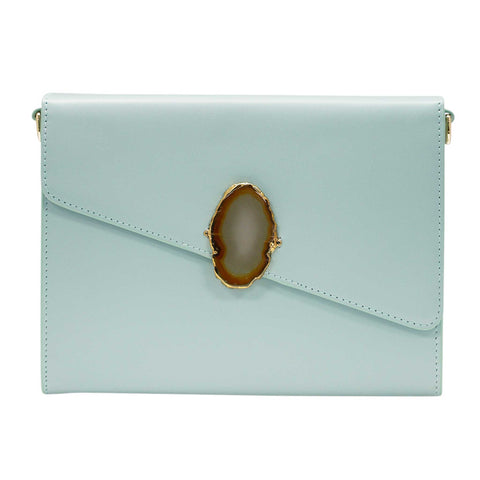 LOVED BAG - MOONSTONE WHITE LEATHER WITH PURPLE AGATE - 1.03.006.006