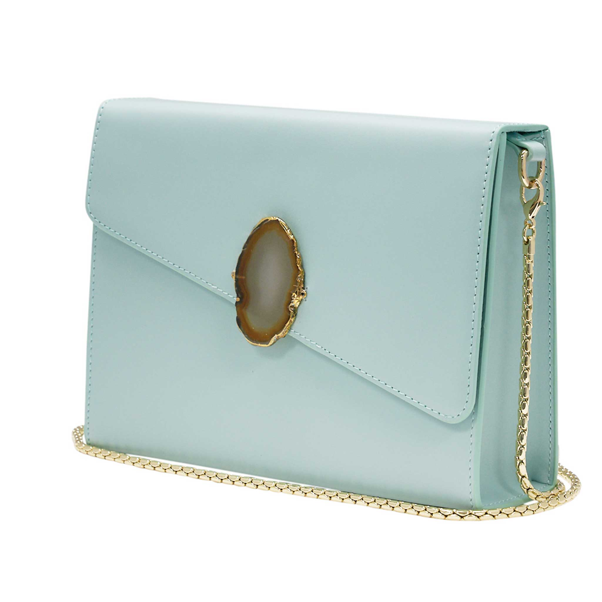 LOVED BAG - MOONSTONE WHITE LEATHER WITH YELLOW AGATE - 1.02.001.043