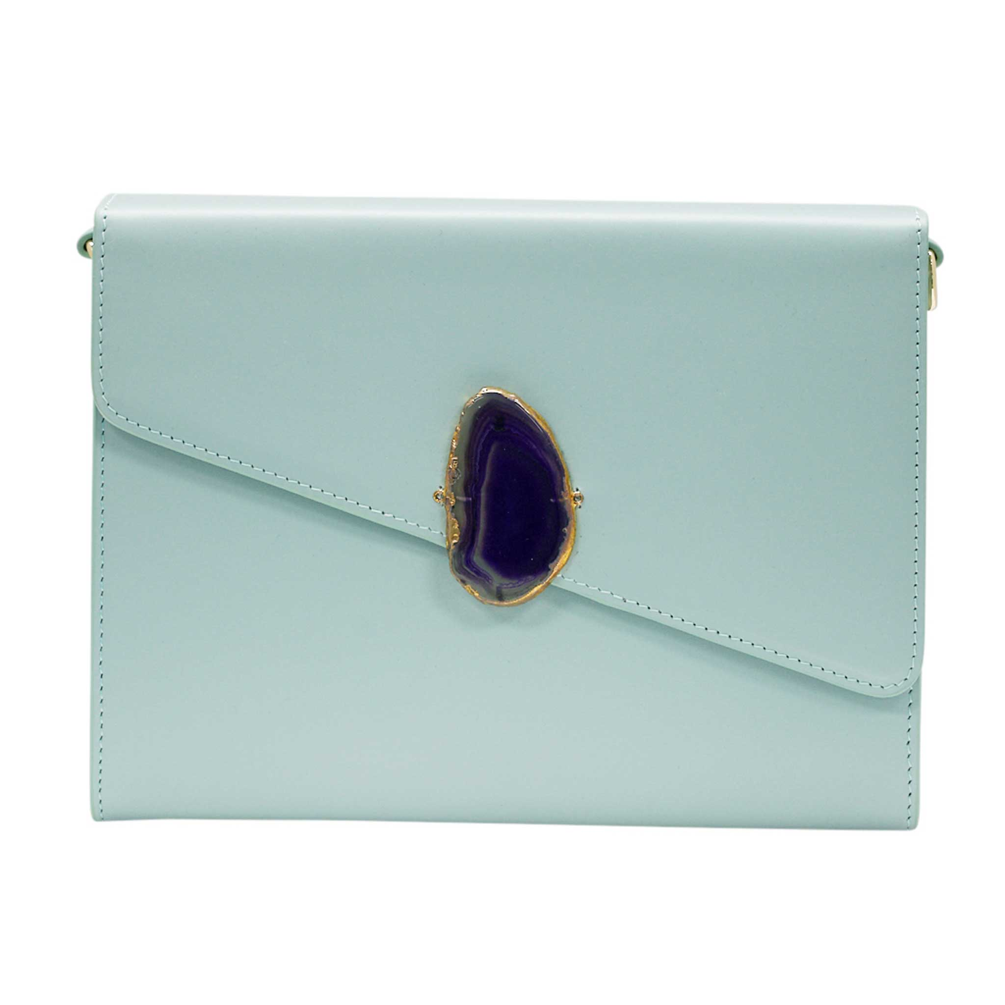 LOVED BAG - MOONSTONE WHITE LEATHER WITH BLUE AGATE - 1.02.002.033