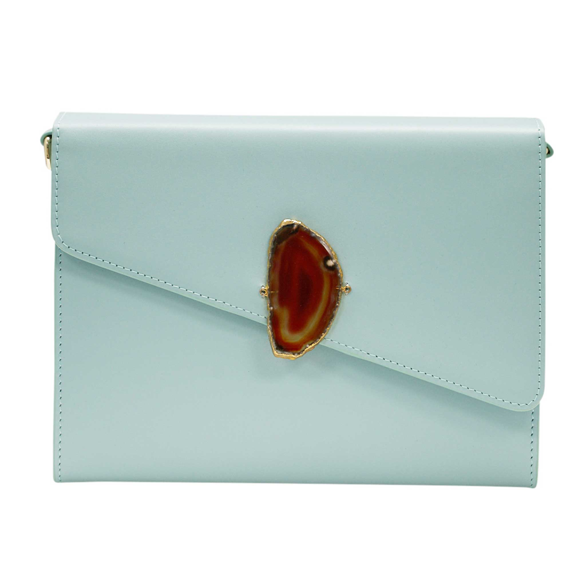 LOVED BAG - MOONSTONE WHITE LEATHER WITH BROWN AGATE - 1.02.004.002