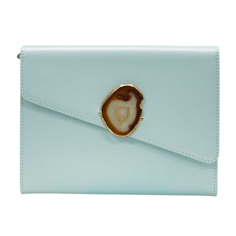 LOVED BAG - MOONSTONE WHITE LEATHER WITH BLUE AGATE - 1.02.006.052
